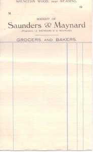 Invoice from Saunders & Maynard